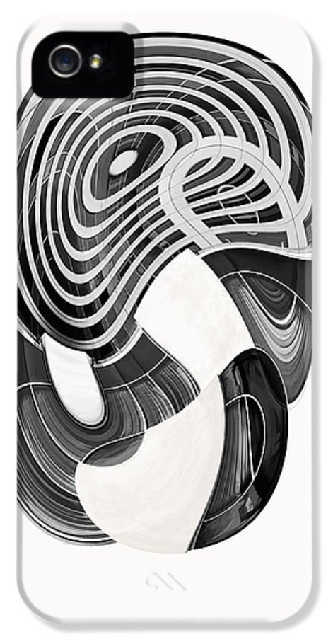 Abstract IPhone 5 Case featuring the digital art One Clean Print - Greyscale by Wendy J St Christopher