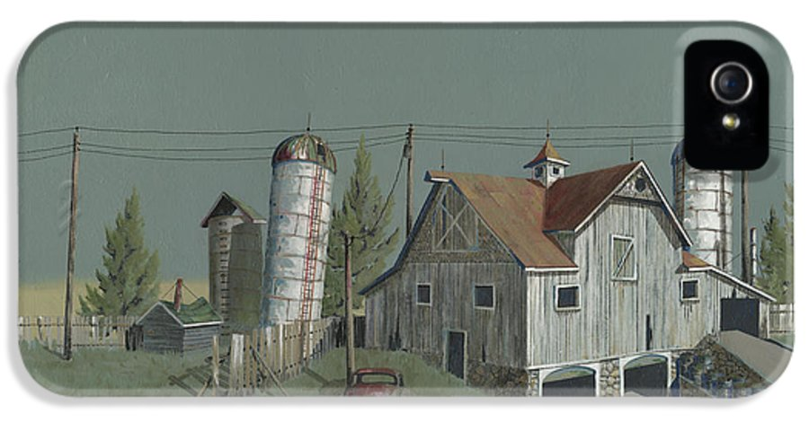 Silo IPhone 5 Case featuring the painting One Man's Castle by John Wyckoff