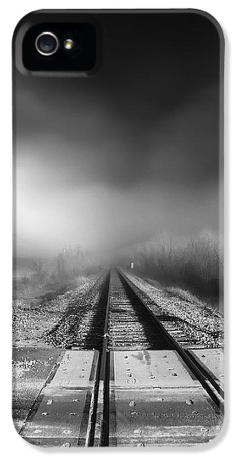 Railroad Tracks IPhone 5 Case featuring the photograph Onward - Railroad Tracks - Fog by Jason Politte