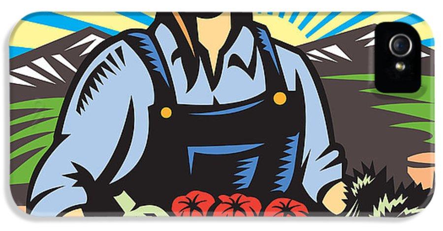 Farmer IPhone 5 / 5s Case featuring the digital art Organic Farmer Farm Produce Harvest Retro by Aloysius Patrimonio