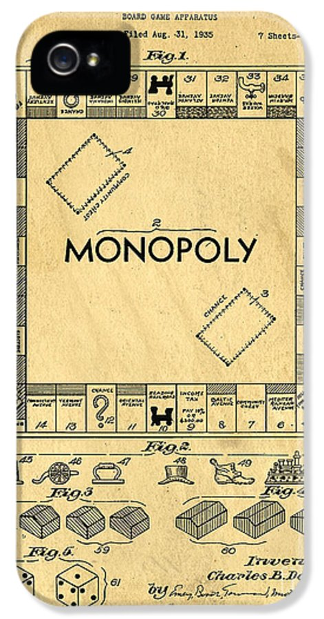 Monopoly IPhone 5 Case featuring the drawing Original Patent For Monopoly Board Game by Edward Fielding