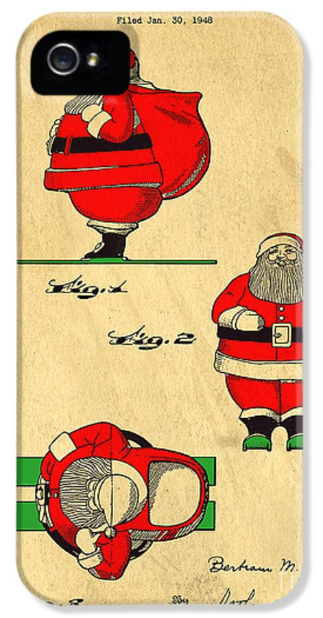 Santa IPhone 5 Case featuring the digital art Original Patent For Santa On Skis Figure by Edward Fielding