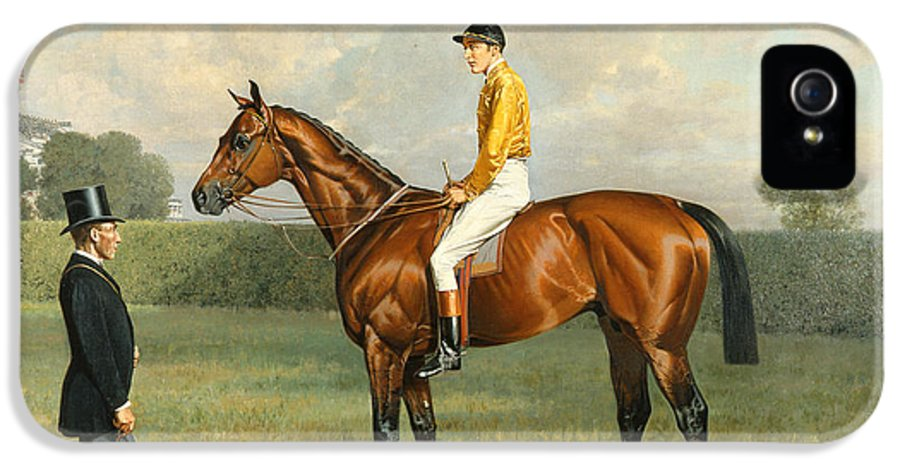Racehorse IPhone 5 Case featuring the painting Ormonde Winner Of The 1886 Derby by Emil Adam