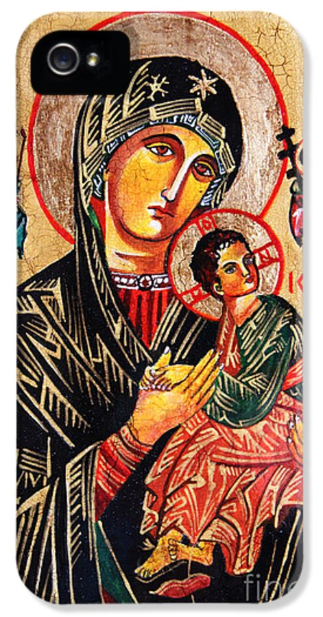 Our Lady Of Perpetual Help Icon IPhone 5 Case featuring the painting Our Lady Of Perpetual Help Icon by Ryszard Sleczka