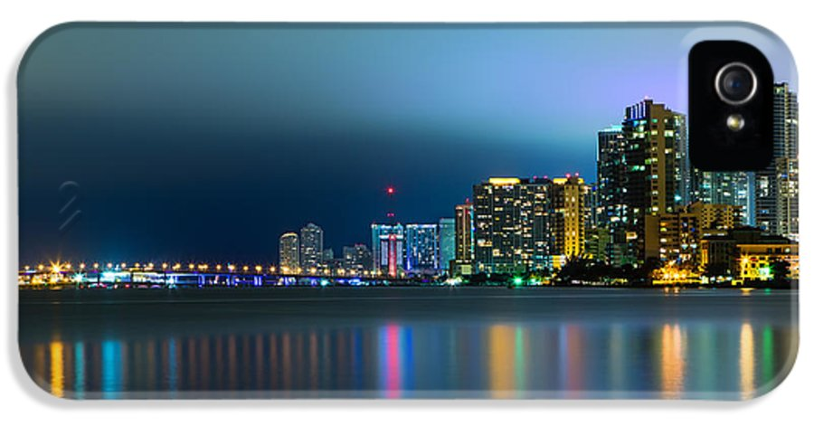 America IPhone 5 Case featuring the photograph Overcast Miami Night Skyline by Andres Leon