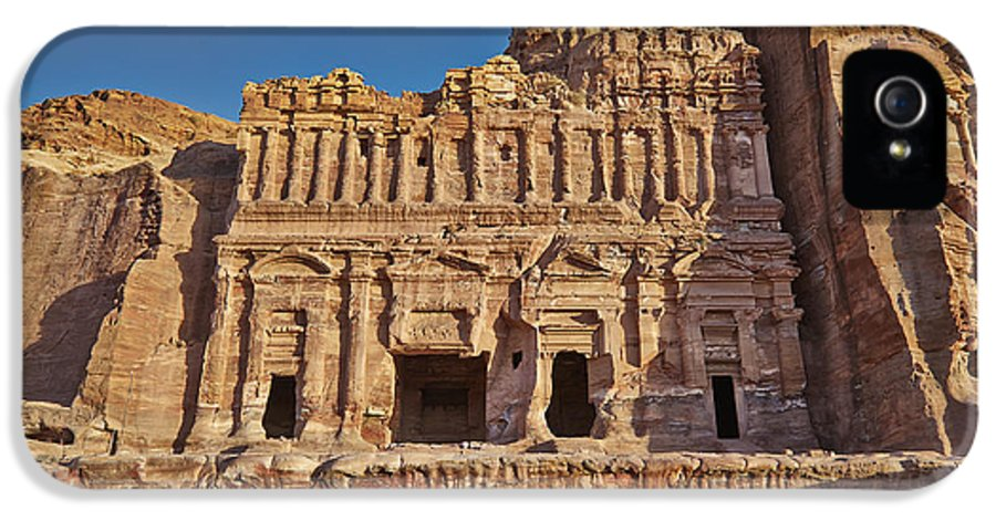 Jordan IPhone 5 Case featuring the photograph Palace Tombin Nabataean Ancient Town Petra by Juergen Ritterbach