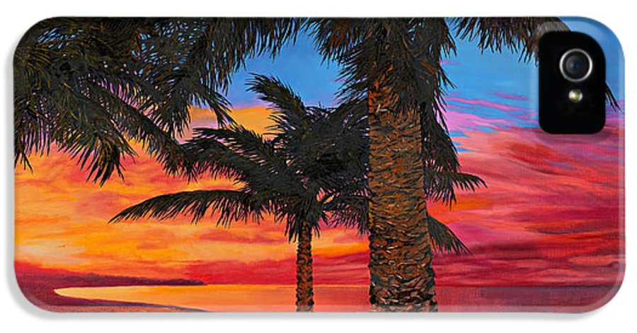 Seacape IPhone 5 Case featuring the painting Palme Al Tramonto by Guido Borelli