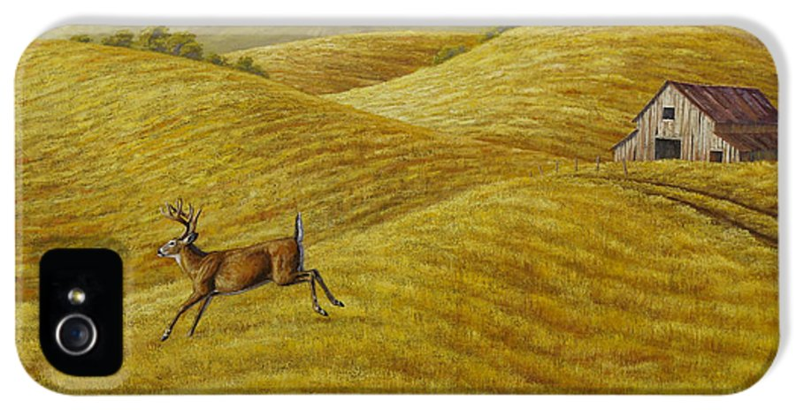 Deer IPhone 5 Case featuring the painting Palouse Farm Whitetail Deer by Crista Forest