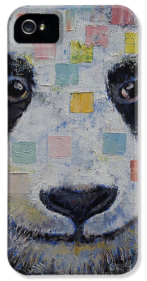 Checkers IPhone 5 Case featuring the painting Panda Checkers by Michael Creese