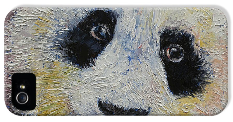 Panda IPhone 5 Case featuring the painting Panda Smile by Michael Creese