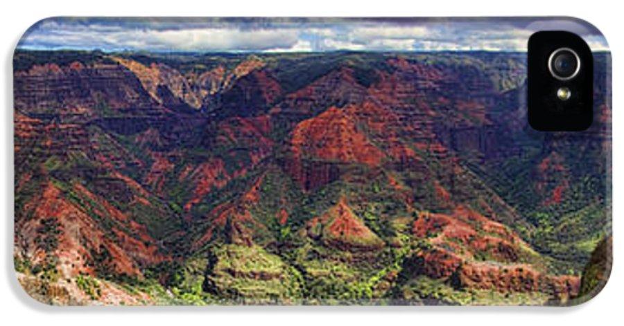 Panorama IPhone 5 Case featuring the photograph Panorama Of Waimea Canyon Hawaii by David Smith
