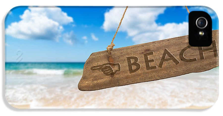 Wooden IPhone 5 Case featuring the photograph Paradise Beach Sign Algarve Portugal by Amanda Elwell
