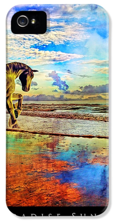 Beach IPhone 5 Case featuring the mixed media Paradise Sunset by Betsy Knapp