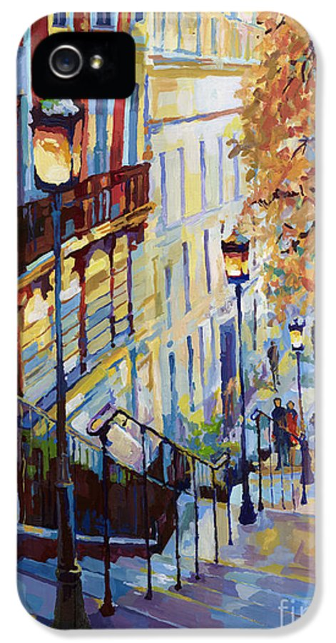 Acrilic IPhone 5 Case featuring the painting Paris Monmartr Steps by Yuriy Shevchuk
