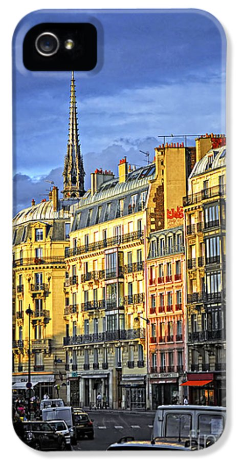 Street IPhone 5 Case featuring the photograph Paris Street At Sunset by Elena Elisseeva