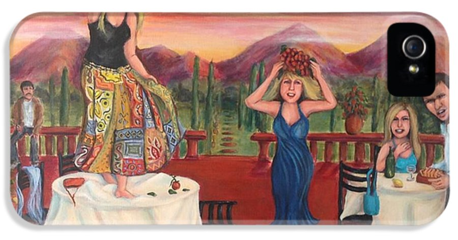 Peoplescape IPhone 5 Case featuring the painting Party In Tuscany by Cathi Doherty