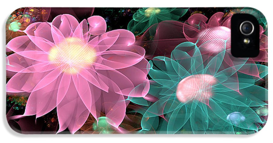 Abstract IPhone 5 Case featuring the digital art Pastel Posies by Peggi Wolfe