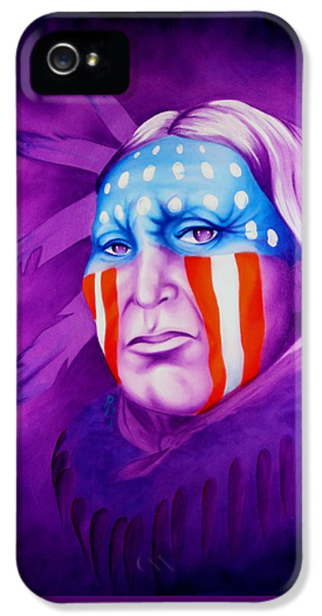 Native American Art IPhone 5 Case featuring the painting Patriot by Robert Martinez