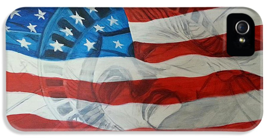 Statue Of Liberty IPhone 5 Case featuring the painting Patriotic by Michelley Fletcher