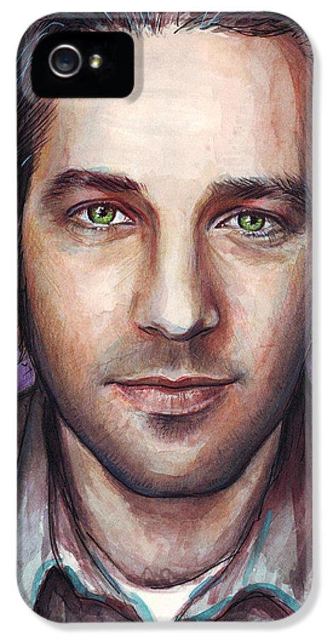 Paul Rudd IPhone 5 Case featuring the painting Paul Rudd Portrait by Olga Shvartsur
