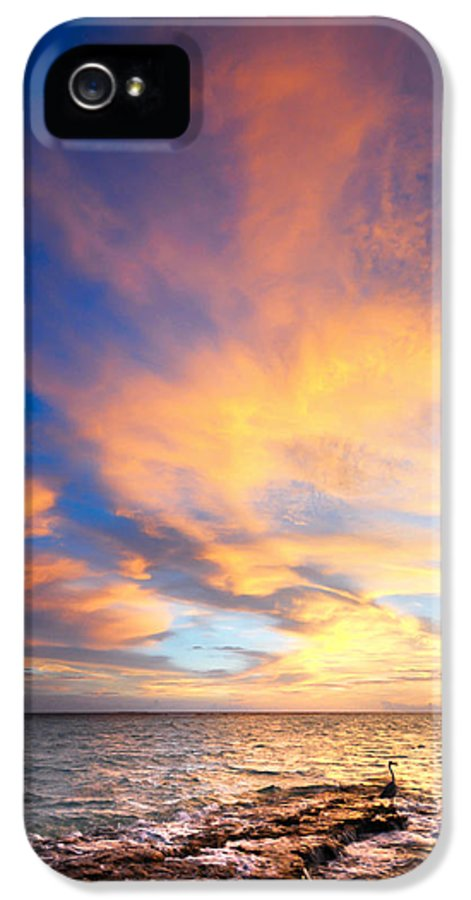 Love IPhone 5 Case featuring the photograph Peacock Sunset. Maldives by Jenny Rainbow