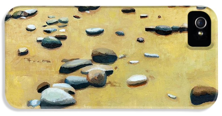 Nautical IPhone 5 Case featuring the painting Pebbles On The Beach - Oil by Michelle Calkins
