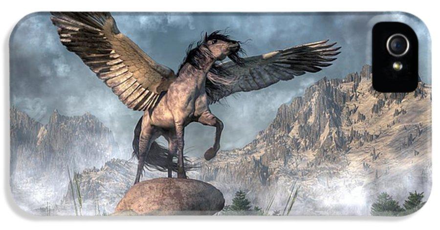 Pegasus IPhone 5 Case featuring the digital art Pegasus by Daniel Eskridge