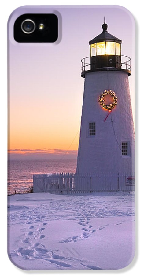 Lighthouse IPhone 5 Case featuring the photograph Pemaquid Point Lighthouse Christmas Snow Wreath Maine by Keith Webber Jr