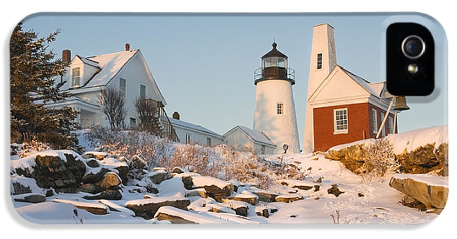 Lighthouse IPhone 5 Case featuring the photograph Pemaquid Point Lighthouse Winter In Maine by Keith Webber Jr
