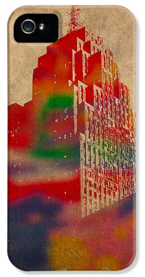 Penobscot IPhone 5 Case featuring the mixed media Penobscot Building Iconic Buildings Of Detroit Watercolor On Worn Canvas Series Number 5 by Design Turnpike