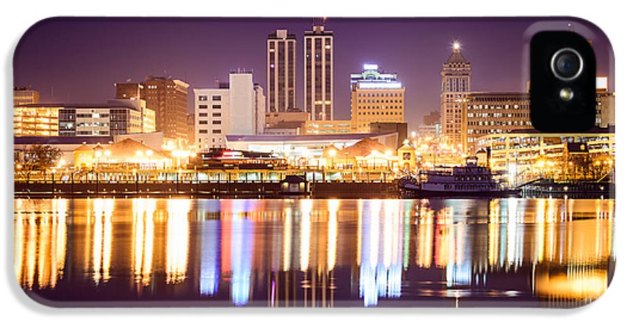 America IPhone 5 Case featuring the photograph Peoria Illinois At Night Downtown Skyline by Paul Velgos