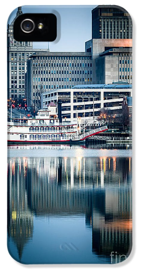 America IPhone 5 Case featuring the photograph Peoria Illinois Cityscape And Riverboat by Paul Velgos