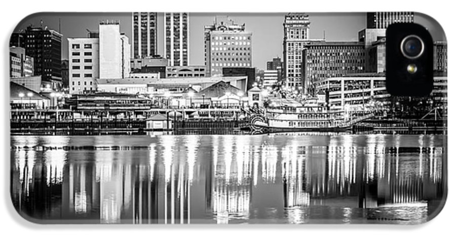 America IPhone 5 Case featuring the photograph Peoria Illinois Skyline At Night In Black And White by Paul Velgos