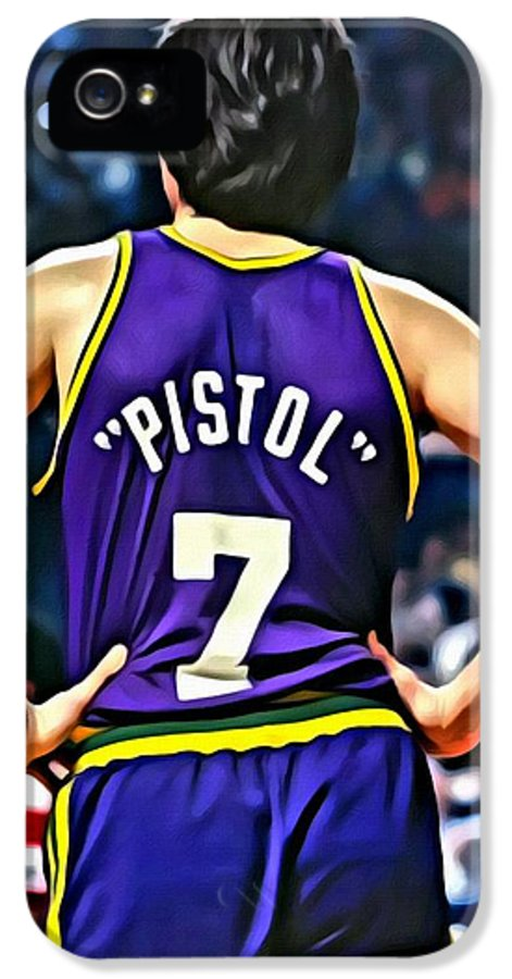 Pete Maravich IPhone 5 Case featuring the painting Pete Maravich by Florian Rodarte