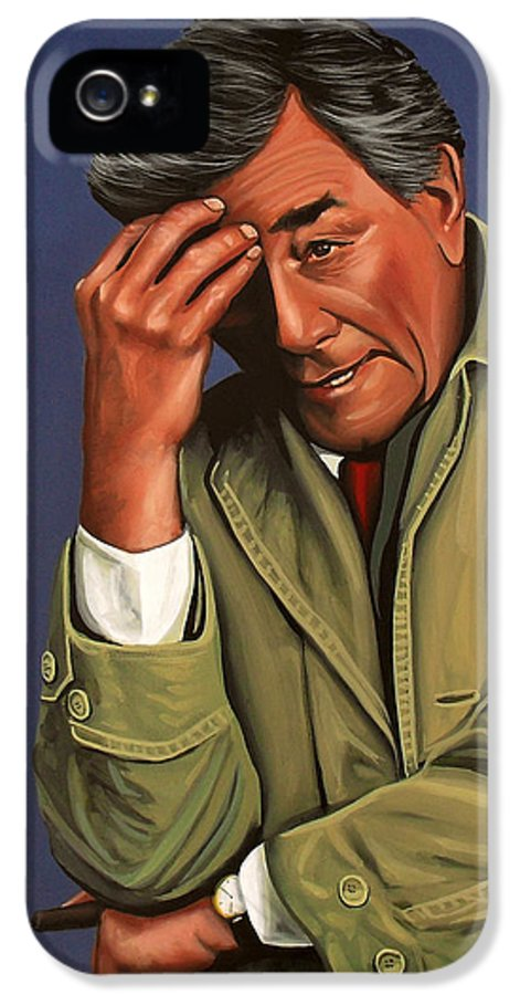 Peter Falk IPhone 5 Case featuring the painting Peter Falk As Columbo by Paul Meijering