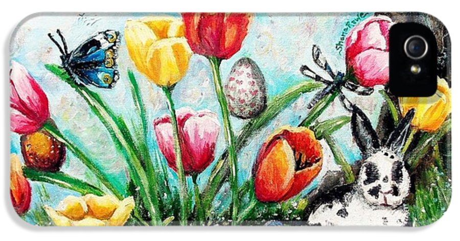 Easter IPhone 5 Case featuring the painting Peters Easter Garden by Shana Rowe Jackson