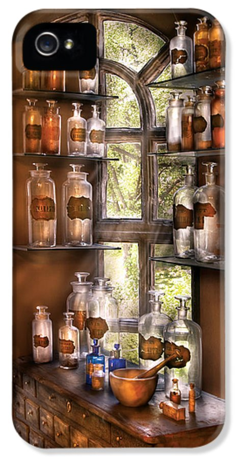 Pharmacy IPhone 5 Case featuring the photograph Pharmacist - Various Potions by Mike Savad