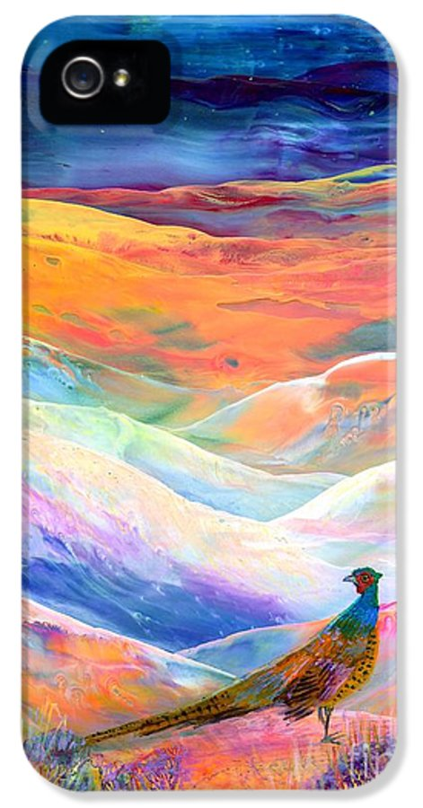 Pheasant IPhone 5 Case featuring the painting Pheasant Moon by Jane Small