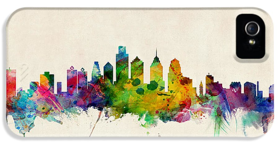 Watercolour IPhone 5 Case featuring the digital art Philadelphia Skyline by Michael Tompsett