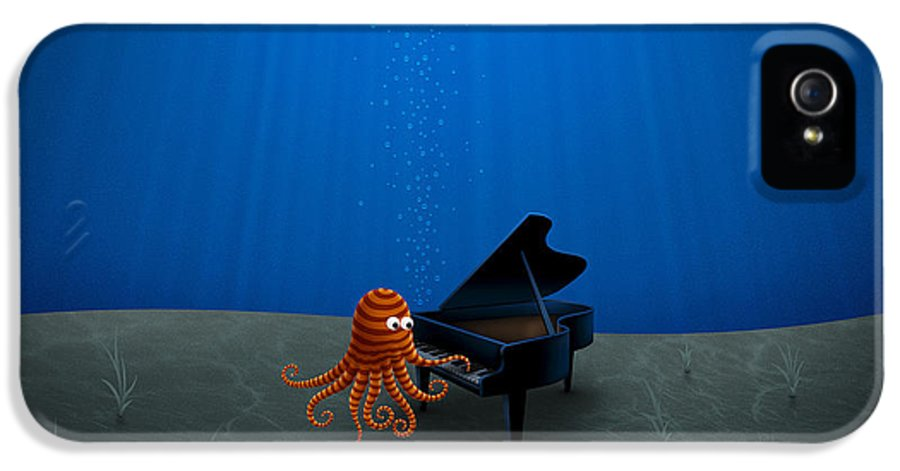Octopus IPhone 5 Case featuring the drawing Piano Playing Octopus by Gianfranco Weiss