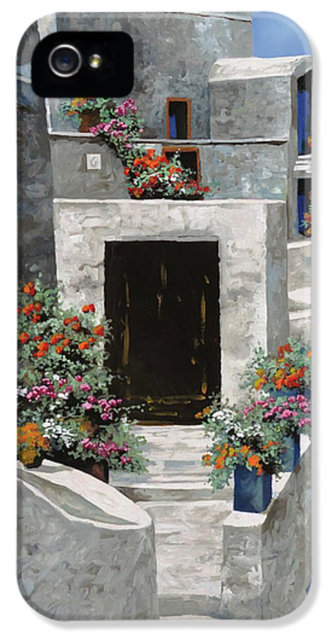 Landscape IPhone 5 Case featuring the painting piccole case bianche di Grecia by Guido Borelli