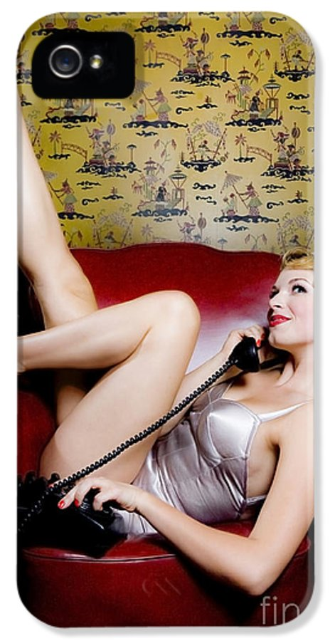 Bathing Suit IPhone 5 Case featuring the photograph Pinup Girl With Phone by Diane Diederich