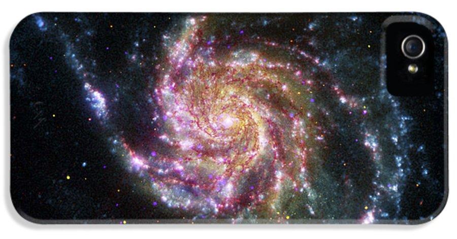 3scape Photos IPhone 5 Case featuring the photograph Pinwheel Galaxy Rainbow by Adam Romanowicz