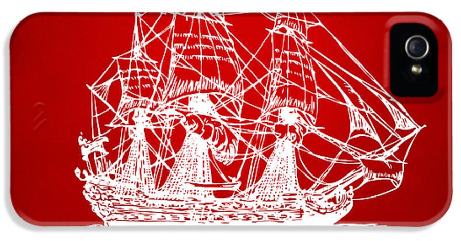 Pirate Ship IPhone 5 / 5s Case featuring the drawing Pirate Ship Artwork - Red by Nikki Marie Smith