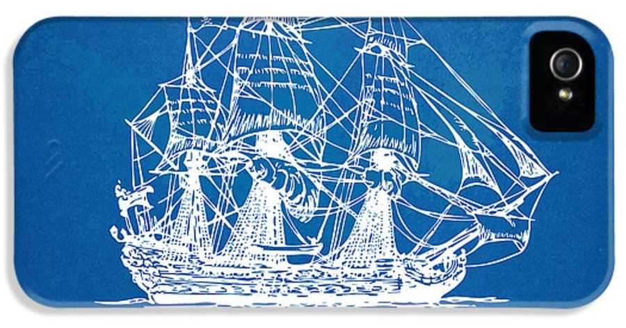 Pirate Ship IPhone 5 Case featuring the drawing Pirate Ship Blueprint Artwork by Nikki Marie Smith