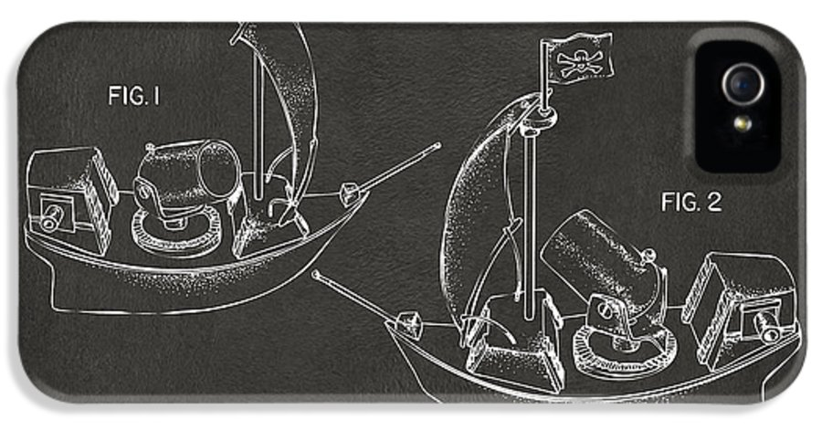 Pirate IPhone 5 Case featuring the drawing Pirate Ship Patent Artwork - Gray by Nikki Marie Smith
