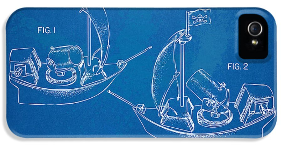 Pirate IPhone 5 Case featuring the digital art Pirate Ship Patent - Blueprint by Nikki Marie Smith