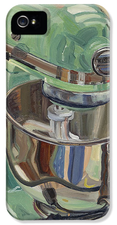 Kitchen Aid Stand Mixer IPhone 5 Case featuring the painting Pistachio Retro Designed Chrome Flour Mixer by Jennie Traill Schaeffer