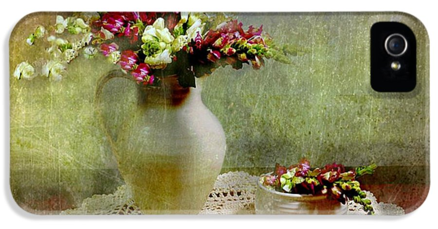 Flowers IPhone 5 Case featuring the photograph Pitcher Of Snapdragons by Diana Angstadt