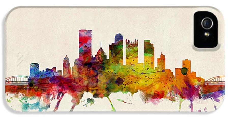 Watercolour IPhone 5 Case featuring the digital art Pittsburgh Pennsylvania Skyline by Michael Tompsett